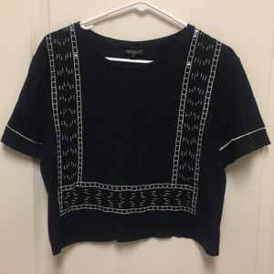 Top Shop / Crop Top Style Embroidered Top SZ US 8